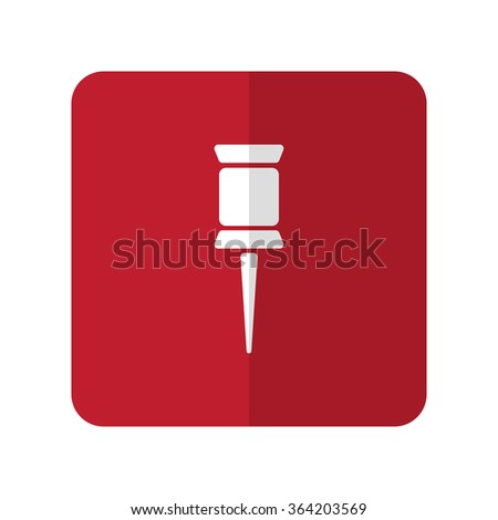 White Pushpin flat icon on red rounded square on white