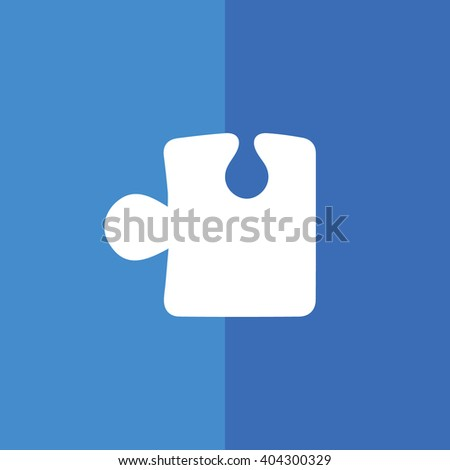 White puzzle icon vector illustration. Blue background - stock vector