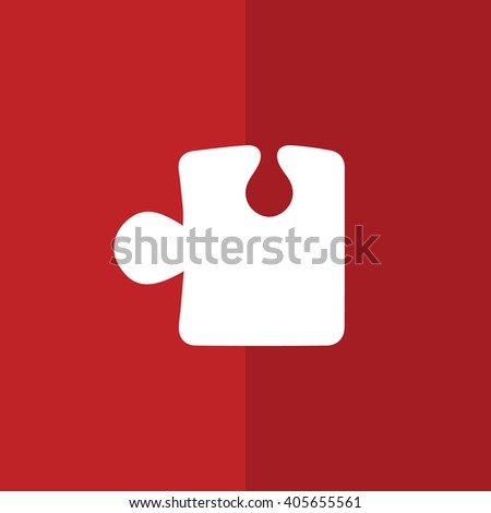 White puzzle icon vector illustration. Red background - stock vector