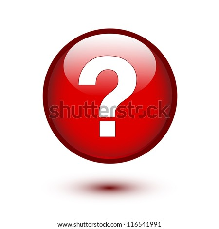 White question mark on red button - stock vector