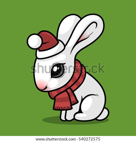 white rabbit in a red hat and scarf sitting on a green background