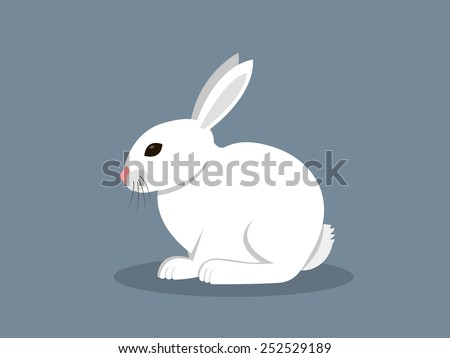 White Rabbit In Flat Style - stock vector