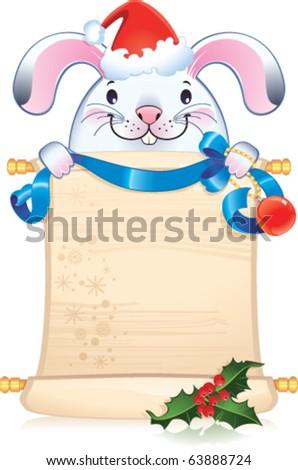 White rabbit - symbol of Chinese horoscope - stock vector