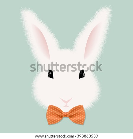 White Rabbit With Bow Tie With Gradient Mesh, Vector Illustration - stock vector