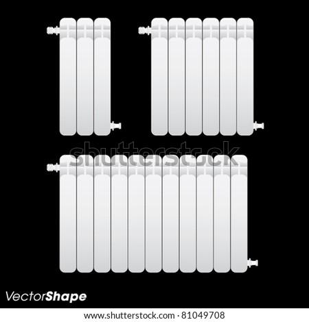 White radiator heater bars vector illustration - stock vector