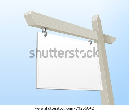 White Real Estate Sign - stock vector