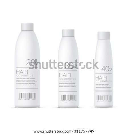 White Realistic Cosmetics bottle set. For cosmetics, ointments, cream, gel. Vector - stock vector
