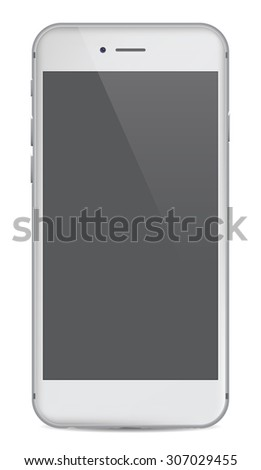 White realistic mobile smartphone with blank screen, isolated on white background, you can place your content under transparent reflection - vector illustration eps 10