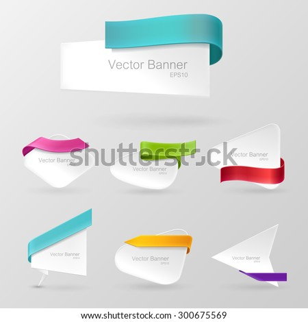 White realistic paper banner set. Decorated with color ribbons. Isolated on a gray background. With space for text. Vector illustration.