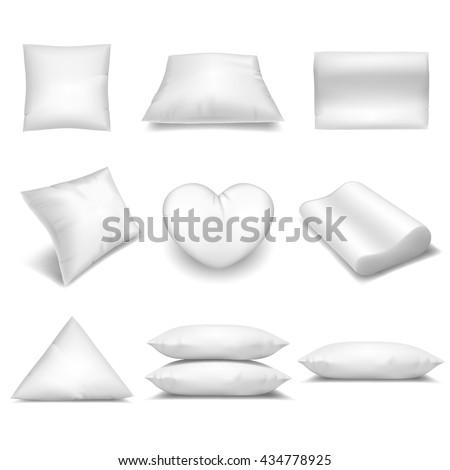 White realistic pillows set - stock vector