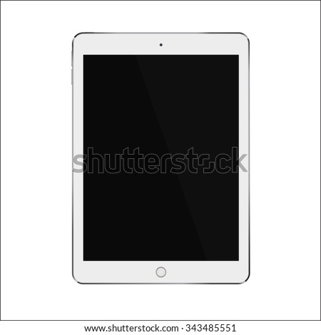 White realistic smart tablet with blank black screen similar to ipad air. Vector illustration eps 10 - stock vector