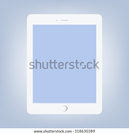 White realistic tablet vector illustration. - stock vector