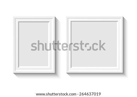 White rectangular photo frame with shadow on a wall.  Eps10 Vector illustration for your design - stock vector