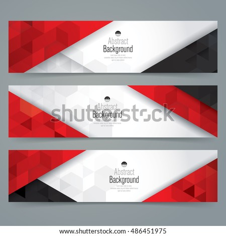 White, red and black abstract background banner. Collection banner design.