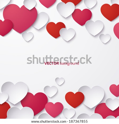 White, red and pink hearts on a white background.. Valentines day template. Vector illustration. - stock vector