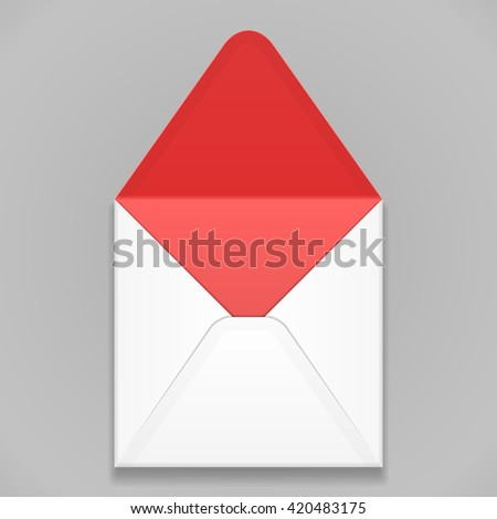 White Red Blank Envelope. Illustration Isolated On Gray Background. Mock Up Template Ready For Your Design. Vector EPS10 - stock vector