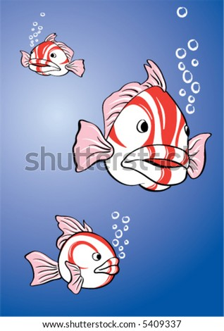 white-red fish - stock vector