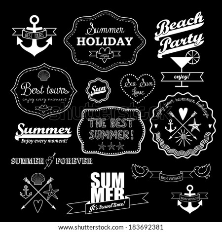 White retro elements for Summer calligraphic designs on black background. Vintage ornaments.  All for Summer holidays. Labels, icons elements collection. Vector set. - stock vector
