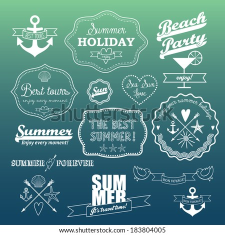 White retro elements for Summer calligraphic designs. vector set of summer icons on abstract gradient background. logo designs. - stock vector