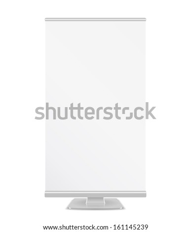 White roll up banner, vector eps10 illustration - stock vector