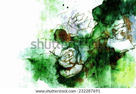 White roses grunge illustration in watercolors. - stock vector
