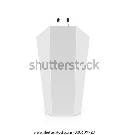 White rostrum, podium, tribune with microphones. Vector. - stock vector