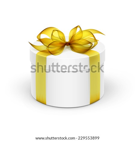 White Round Gift Box with Yellow Ribbon and Bow Isolated on Background - stock vector