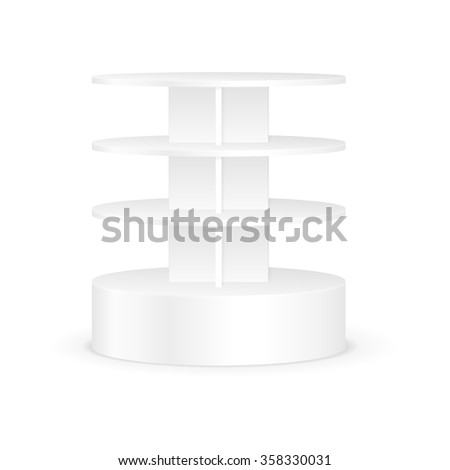 White Round Shelves Rack For Product Display. Supermarket Stand. Vector. - stock vector