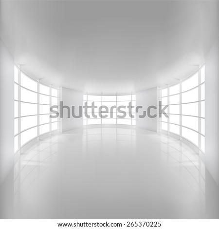 White Rounded Room Illuminated by Sunlight. Vector Illustration. - stock vector