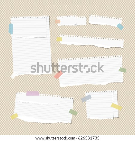White ruled and blank note, notebook, copybook strips, stuck with colorful sticky tape on squared brown background