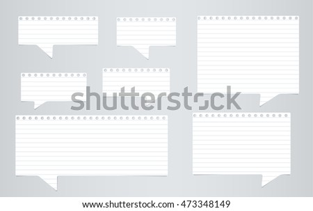 White ruled notebook paper speech bubbles are on gray background
