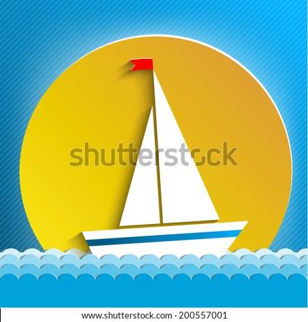 white sail across the sun - stock vector