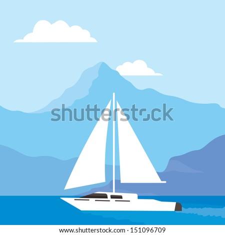 white sailboat at sea, beautiful background - stock vector