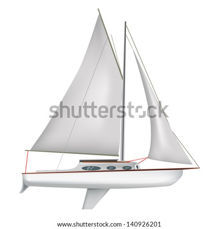 White sailing boat isolated - stock vector