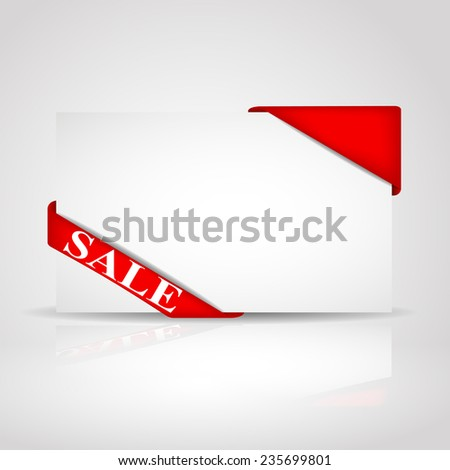 White sale  card with red ribbon - stock vector
