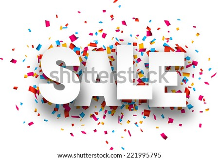 White sale sign over confetti background. Vector holiday illustration.  - stock vector