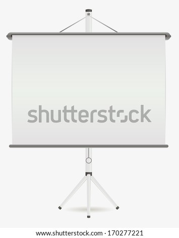 White screen projector on a stand. - stock vector