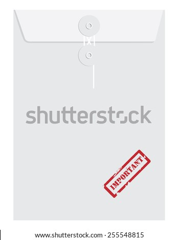 White sealed postal envelope template with red rubber stamp important vector isolated on white  - stock vector