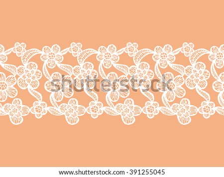 White Seamless Lacy Ribbon with Hand Drawn Floral Elements. Vector Illustration. - stock vector