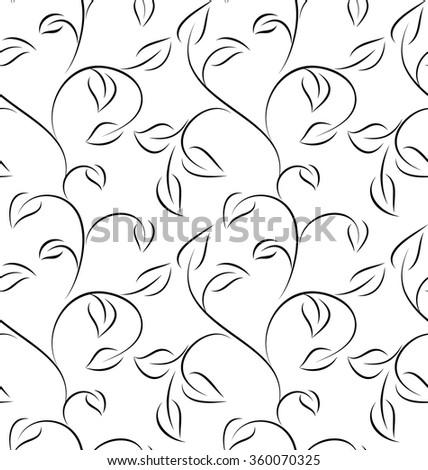 white seamless leaves  - stock vector