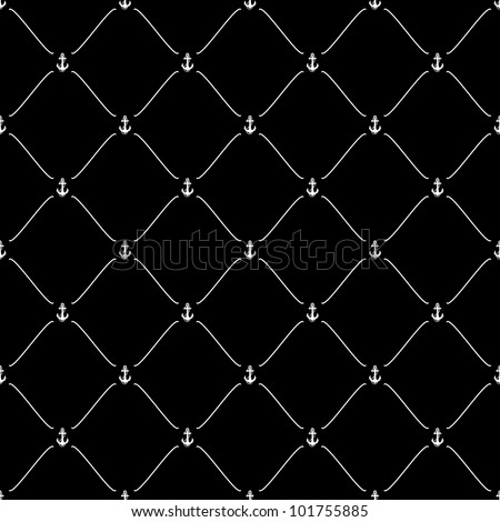 White seamless pattern with anchor symbol on black, 10eps.