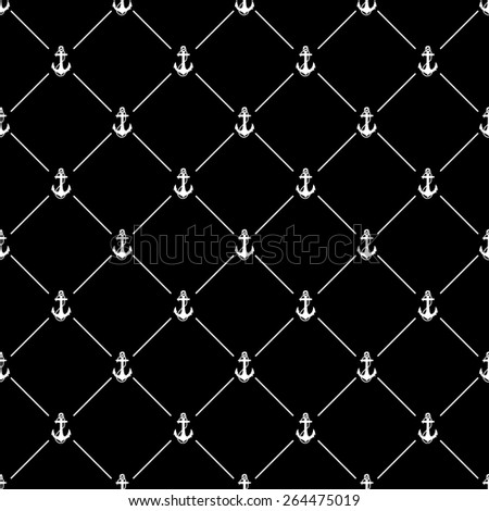 White seamless pattern with anchor symbol on black, 10eps. - stock vector