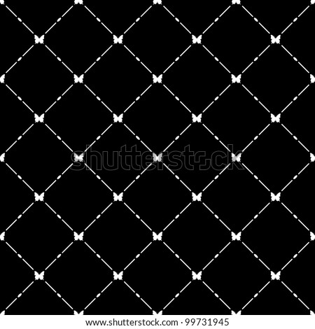 White seamless pattern with butterfly symbol on black, vector, 10eps. - stock vector