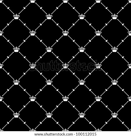 White seamless pattern with king crown symbol on black, 10eps. - stock vector