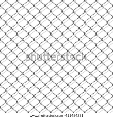 White seamless texture. Structure of metal mesh fence with shadow. Realistic. Vector background. - stock vector