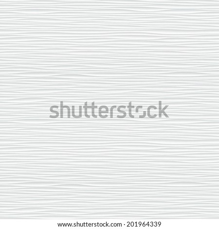 White seamless texture. Wavy background. Interior wall decoration. 3D Vector interior wall panel pattern. Vector white background of abstract waves. - stock vector