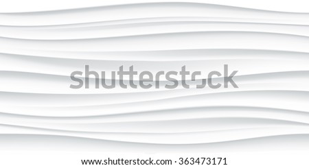 White seamless wave texture pattern. Wavy linen background. Interior wall decoration. 3D Vector interior wall panel pattern. Vector white background of abstract waves. - stock vector
