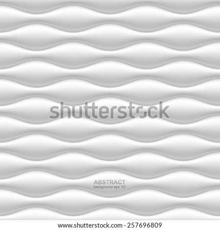 White seamless wavy background. - stock vector