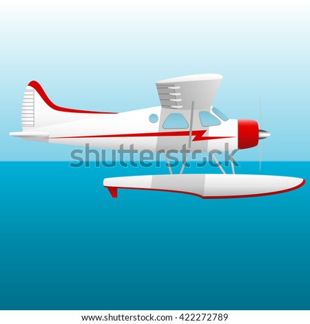 White seaplane. Hydroplane in the sky over the sea. Vector Image. - stock vector