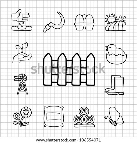 White series | Hand drawn Farm icon set - stock vector